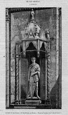 Stampa antica FIRENZE Or San Michele statua 1858