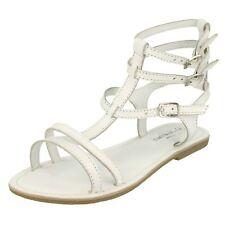 Ladies Savannah White Leather Gladiator Sandals Style F0686