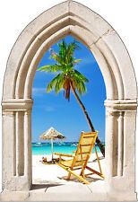 Sticker mural trompe l'oeil Arche déco palmier et transat réf 884