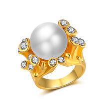 18K Yellow Gold Filled Women Pearl Crystal Ring Rings Men Rings Lovers Gift J029