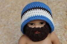 Knit Crochet Baby Child Kids Full Beard Hat Beanie Newborn Photo Prop Hat Blue