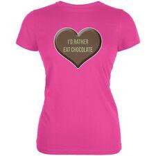 I'd Rather Eat Chocolate Hot Pink Juniors Soft T-Shirt