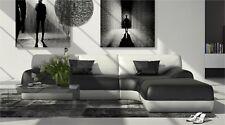 Ledersofa Ecksofa Couch Garnitur VIDA L Form Designersofa Ottomane schwarz weiss