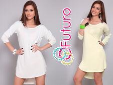 Women's Asymmetric Mini Dress Scoop Neck Tunic Long Sleeve Top Size 8-12 FT992