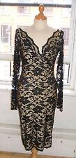 Baylis & Knight Black Nude LACE Long Sleeve Sexy TWIST Wiggle Dress Dita Pin Up