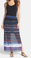 Vince Camuto Rich Black Chiffon Overlay Sweep Stripe Maxi Dress - MSRP $119
