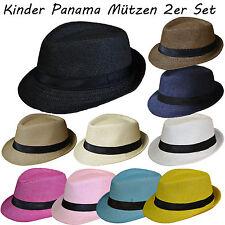 2 Stück Set Kinder Panamahut Strohhut Hut Gr.54 Kind Junge Sommerhut Hutband