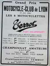 PUBLICITE MOTO TERROT Motocycle Cub de LYON 1926 PUB AD