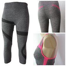 Damen 2teilig Sportkombi Laufhose Fitness Capri Neon Yoga Stretch Streifen