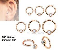 2pcs. 18Ga Rose Gold IP Gem Set Captive Bead Ring Hoop Ears Tragus Labret Septum