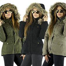 Damenjacke Parka Jacke Kapuze Winterjacke Army warm XS S M L XL