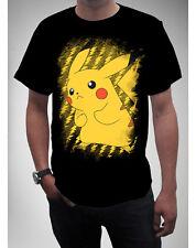 Pokemon Pikachu Black T-shirt Anime Licensed NEW