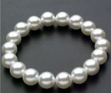 "8-14MM White Akoya Shell Pearl  Round Beads Stretch Bangle Bracelet  7.5"" AAA"
