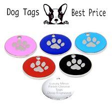 Personalised Engraved Enamel Paw Print Tag Dog Cat Pet ID Tags