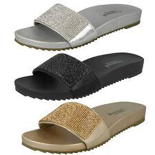 Ladies Savannah Synthetic Slip On Flat Diamante Vamp Mules