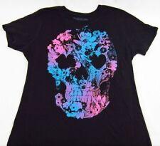 Womens NEW Spencers Flower Skull Black Short Sleeve Graphic Tee T-Shirt Sz S & M