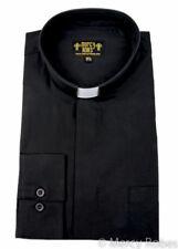 Mens Black Clergy Shirt, Standard Cuff, Tab Collar, Long Sleeve, Pastor, Priest