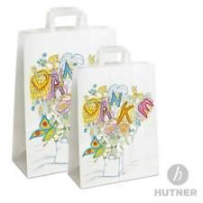 HUTNER | Papiertüten Motiv Danke, Flachhenkel, Papiertragetaschen Papiertaschen