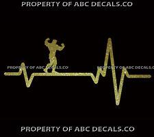 VRS HEART BEAT LINE MUSCLE MAN Flexing Bodybuilding Fitness Guy CAR METAL DECAL
