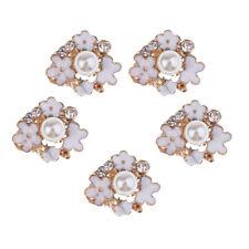 5 Pcs Rhinestones Pearl Flower Buttons Flatback Buckles Connector DIY Craft