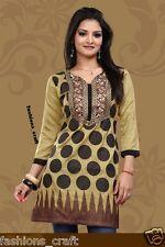 Indian Designer Printed Mustard Yellow black Crepe Kurti Tunic Top Kaftan Women