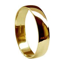6mm 9ct Oro Amarillo Alianzas Forma D Perfil mediano 4.4g 375GB HM Banda H-Z