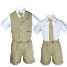 Stone Khaki Infant Boy & Toddler Formal Vest Shorts Suit 4 S M L XL 2T 3T 4T