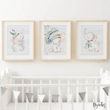 Baby Boy Elephant Nursery Prints, set of 3, Boho Tribal Elephant Prints. Decor