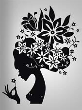 FLOWER HAIR GIRL Decal WALL STICKER Art Home Decor Stencil Silhouette SST007