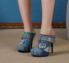 Womens High Heel Stiletto Slingback Loafer Denim Party Sandal Pumps Buckle Shoes