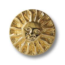5 glänzend goldfarbene Metall Ösen Knöpfe mit Sonnen Gesicht (5076gg)
