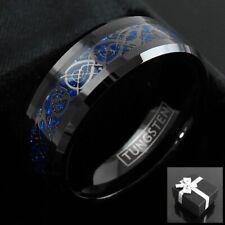 8mm Tungsten Ring Black Celtic Dragon Blue Carbon Fibre Mens Jewelry
