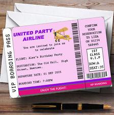 Pink Vip Plane Boarding Pass Ticket Theme Personalised Birthday Invitations