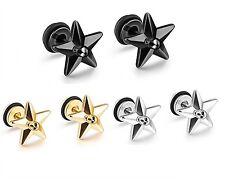 Men Women Silver Star Skull Surgical Stainless Steel Stud Earrings Gift Box S5