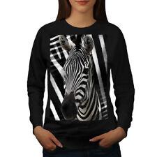 Wellcoda Zebra Face Cute Animal Womens Sweatshirt, Africa Casual Pullover Jumper