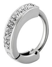 Piercing nombril acier anneau cristal