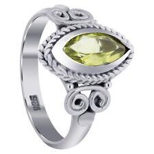 925 Sterling Silver Bali Deisgn Oval Genuine Peridot Gemstone Rings