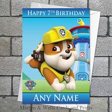 Paw Patrol birthday card: Rubble. Personalised, plus envelope.