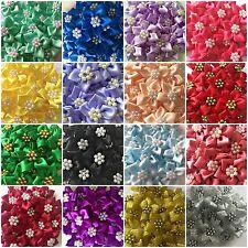 Qualité Ruban Satin Poinsettia Fleurs 4 cm Fabrication Carte Couture Craft 17 couleurs