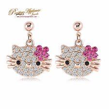 Hello Kitty stud earrings for girls children ladies 18k rose gold plated