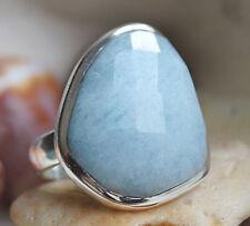 Handarbeit Ring Silber 59 Aquamarin Facette Trapez Silberring Schlicht Elegant