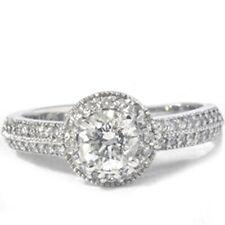 G/SI 1 ct Pave Diamond Halo 14k White Gold Diamond Engagement Ring Enhanced