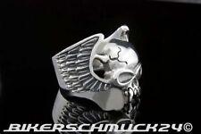 Totenkopfring Vampir Half Skull mit Flügeln 925 Silber Herren Damen Geschenk NEU