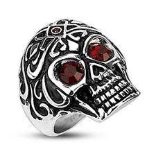 Totenkopf Ring Skull Kristall Auge rot Edelstahl Massiv Biker Gothic Akon