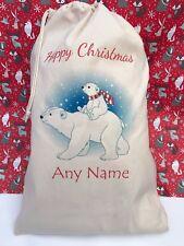 PERSONALISED Polar Bear Santa Sack, gift bag, Christmas, Xmas stocking