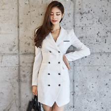 Elegante vestito abito corto bianco spacco tubino maniche lunghe comodo 3952