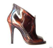 new $1060 Maison Martin Margiela 22 brown open-toe back zipper ANKLE BOOTS