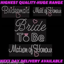 BRIDE IRON ON TRANSFER RHINESTONES BRIDE,BRIDESMAID,MOTHER OF BRIDE,HUGE RANGE