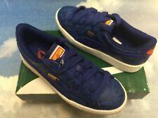 Puma Kids Basket Jr Superman Blue Leather Sneaker Kid Size 12.5 to Youth Size 6