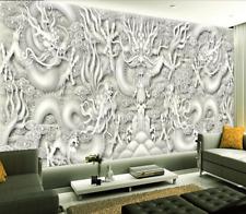 3D Mega Elegant Dragons Carve199 Wall Paper Wall Print Decal Wall AJ Wall Paper